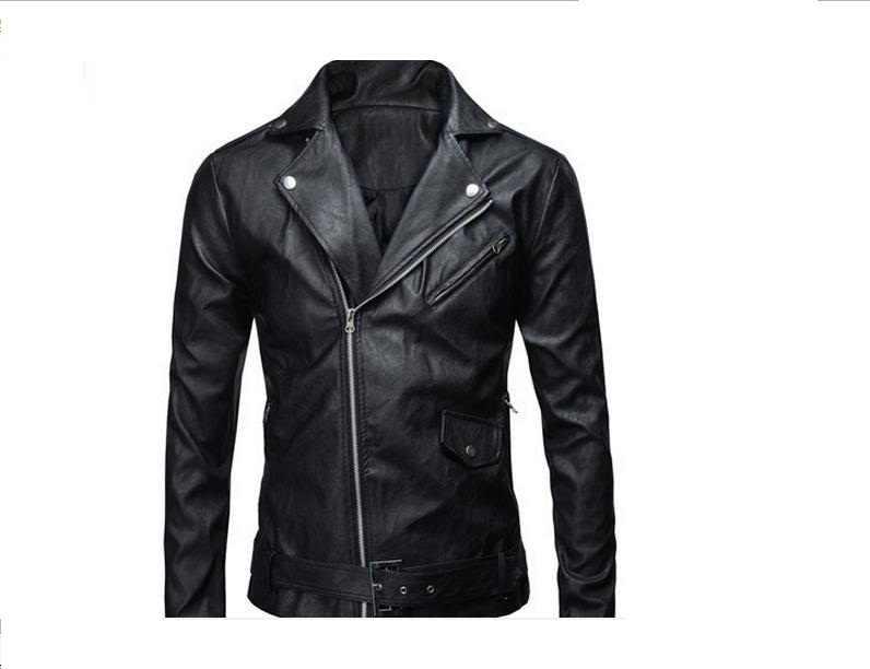 Белый уличный мода моды куртка корейский локомотив тонкий pu кожаная куртка мужская куртка британский мода # 65470