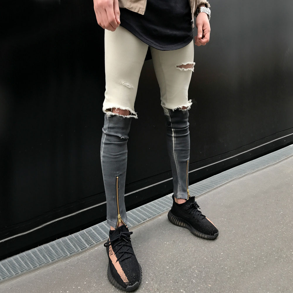 buy helisopus men 39 s skinny jeans streetwear locomotive ripped jeans homme denim. Black Bedroom Furniture Sets. Home Design Ideas
