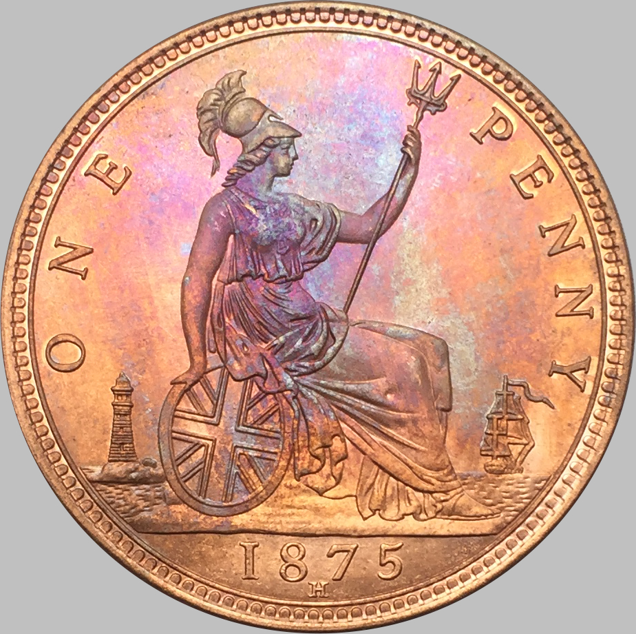 United kingdom 1875 h one penny red copper copy coin for One penny homes