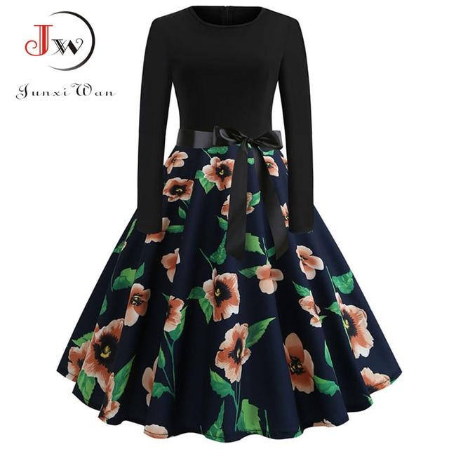 Music Note Print Elegant Party Dress Women 50s 60s Retro Vintage Robe  Rockabilly Dresses Plus Size Casual Winter Midi Dresses