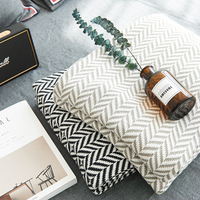 100% Modern geometric striped paid Nordic American Style Bedding Couch Cover thread towel grey throw Blanket body sofa picnic