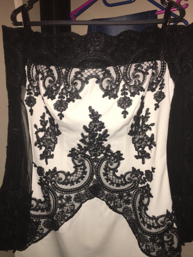 Courte mère de la mariée robes ivoire robes avec dentelle noire Appliques hors épaule manches longues mère robes formelles - 6