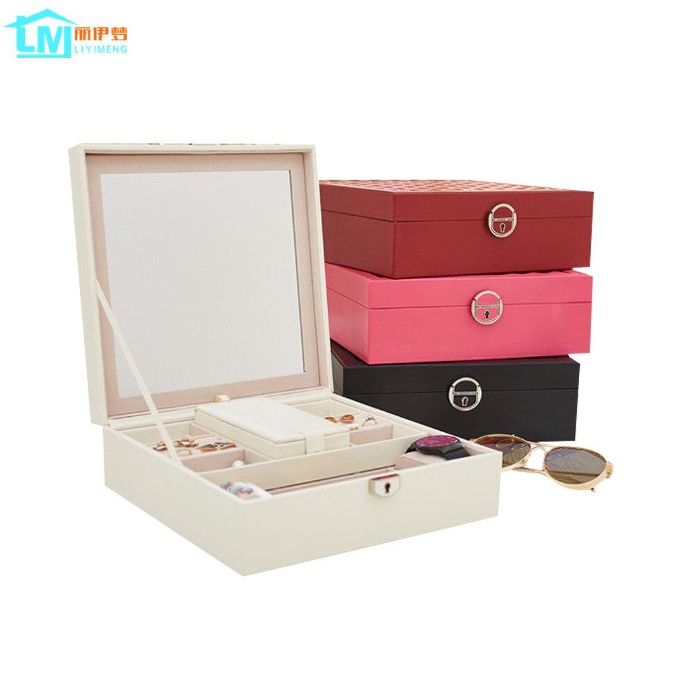 Accueil bijoux organisateur boîte d'emballage cercueil pour accessoires de maquillage exquis cosmétiques beauté conteneur boîtes cadeau d'anniversaire