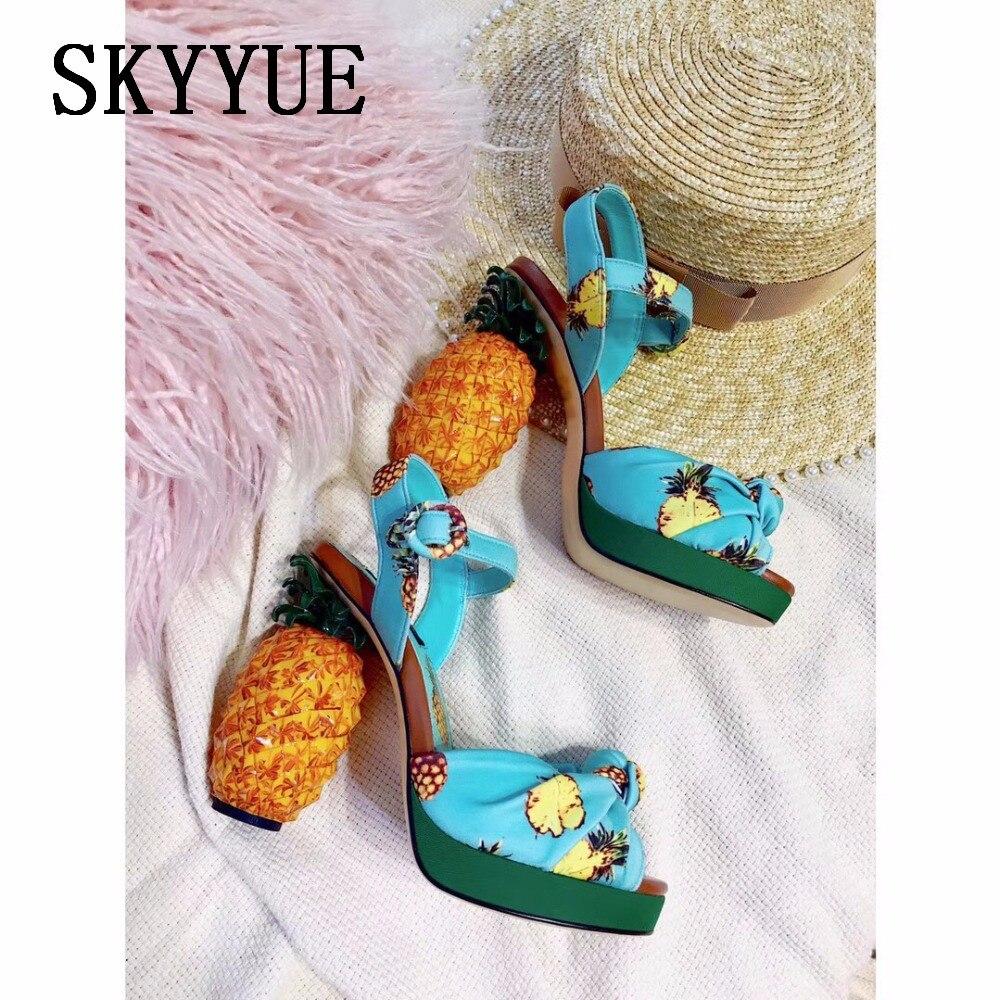 Stiletto Design Pineapple Printing Shoes Sandals High Wedding Top PkuiXZ