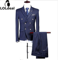 Loldeal Men Double Breasted Tailored Suit Slim Fit Custom Made Pinstripe Navy Blue Wedding Suits For Men