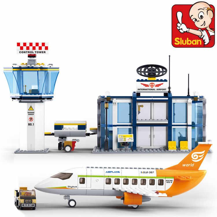 SLUBAN B0367 aéroport International modèle blocs de construction éclairer jouets pour enfants Compatible Legoings ville série garçon