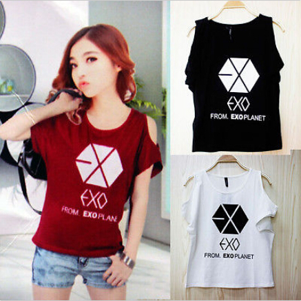 3d395af5717e3d KPOP EXO Planet Off Shoulder T-Shirt Baekhyun Planet Womens Summer Cotton  Tee