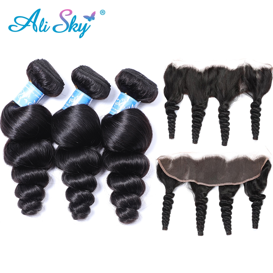 3 Bundles Malaysian Loose Wave Hair With 13x4 Pre Plucked Lace Frontal Ear To Ear Lace Closure With Baby Hair Ali Sky Non Remy Hot Sale 50-70% OFF 3/4 Bundles With Closure Hair Extensions & Wigs
