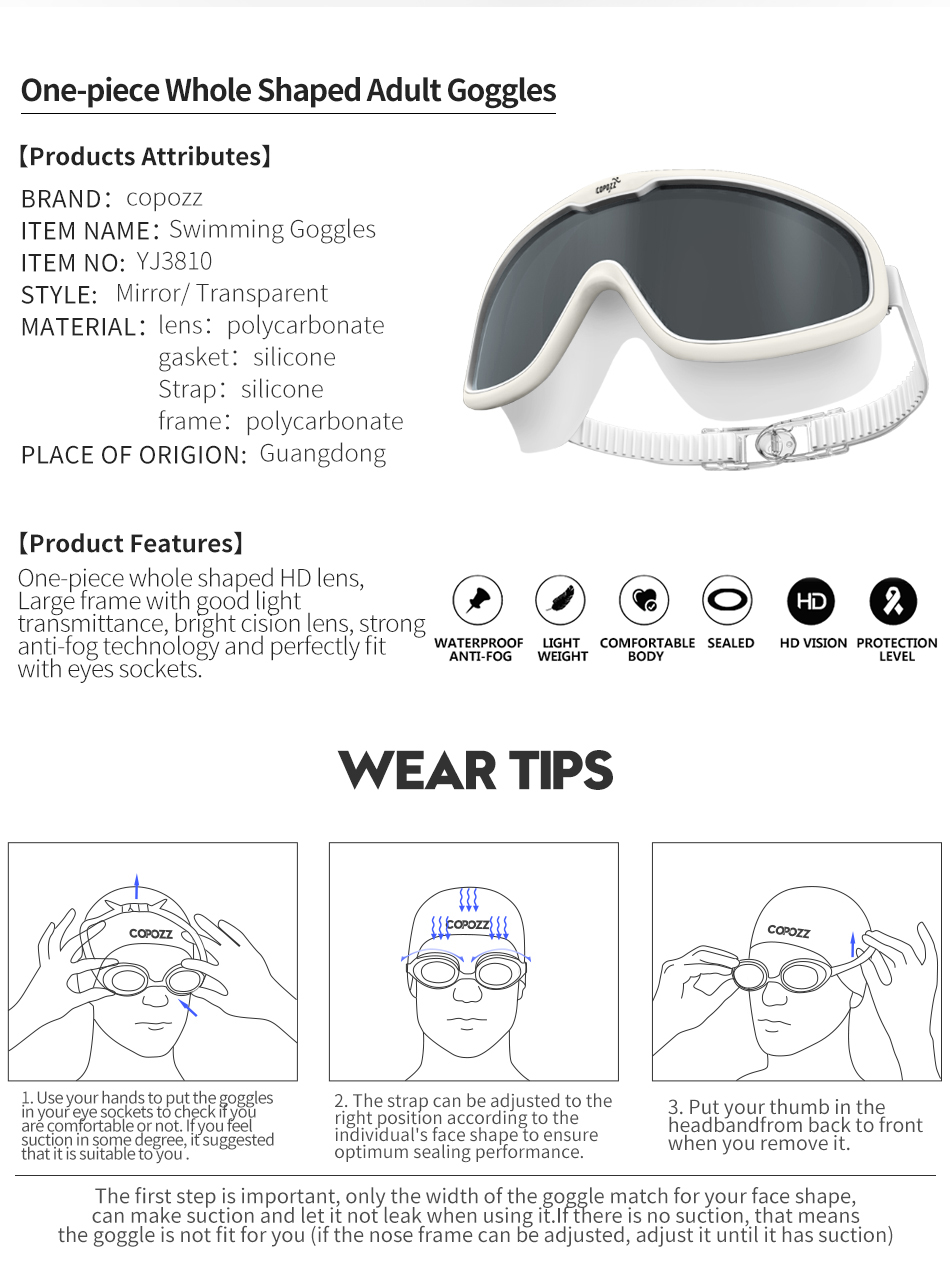 COPOZZ One piece Swimming Goggles 2018 Whole Shaped Lens Comfortable ...