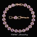 Joyería de lujo Amethyst Púrpura Mujeres Chapado En Oro CZ Diamante Simulado Conectado Cadena Enlace Pulseras Con Cierre Extendido CB152