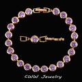 Luxury Amethyst Purple Jewelry Women Gold Plated CZ Simulated Diamond Connected Chain Link Bracelets With Extended Clasp CB152