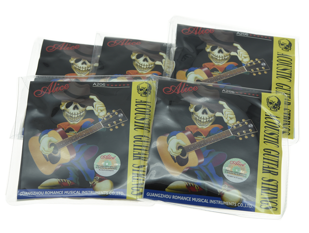 5 Sets Alice Stainless Steel Folk Acoustic Guitar String Super Light Stings 1st-6th (.011-.052)
