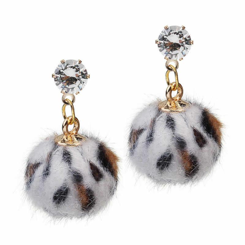 2018 nova leopard brincos bola de cabelo de pelúcia personalidade selvagem temperamento feminino brincos incrustados zircão brincos de cobre