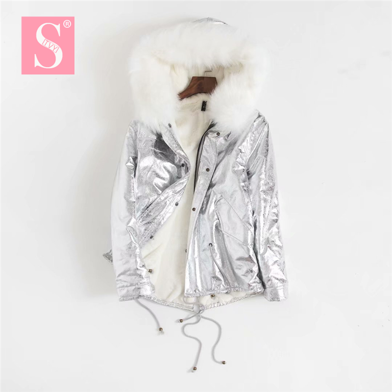 LUNDUNSHIJIA 2018 Winter New Parka Silver Jacket Women Fur Jacket Big Fur Collar Hooded Warm Gold Thick Cotton-padded Clothes