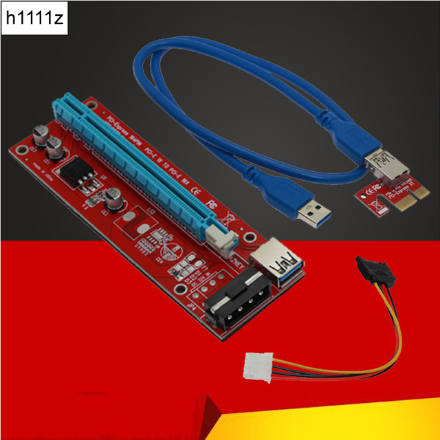 Высокое качество PCI Express кабель PCI-E 1X до 16X Riser Card Extender SATA 15 Pin до 4 Pin IDE блок питания для добывания монет Биткойн