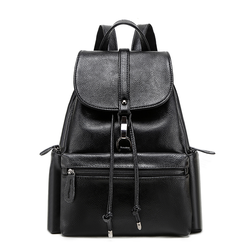 Simple beautiful elegant leather backpack women soft Calfskin casual wild fashion solid color cover travel backpacks bag simple beautiful elegant leather backpack women soft calfskin casual wild fashion solid color cover travel backpacks bag