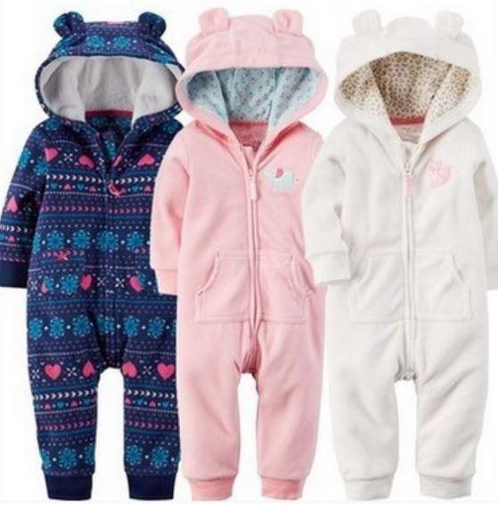 Mamelucos Niños del bebé 2016 Ropa De Bebe Outwear Fleece Con Capucha Mamelucos del Desgaste del Bebé Traje de Otoño de Nieve Chaquetas Ropa de Algodón Recién Nacido