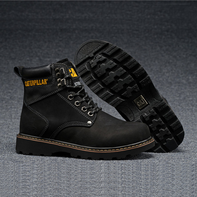 c06fc109569 CAT Footwear Men Classic All Black High Heels Leather Casual Shoes Male  Ankle Winter Warm Boots Man Outdoor Safety Shoe 38-46