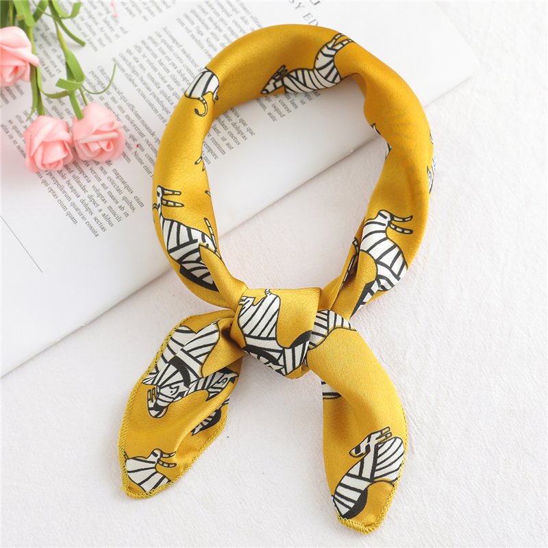 Fashion print silk   scarf   square women small size skinny bag tie band ribbon neck head kerchief satin smooth foulard   scarves