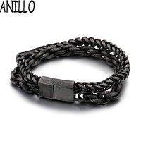 ANILLO Men Bracelet Simple Black Stainless Steel Magnet Bracelets Bangles Double Chain Jewelry