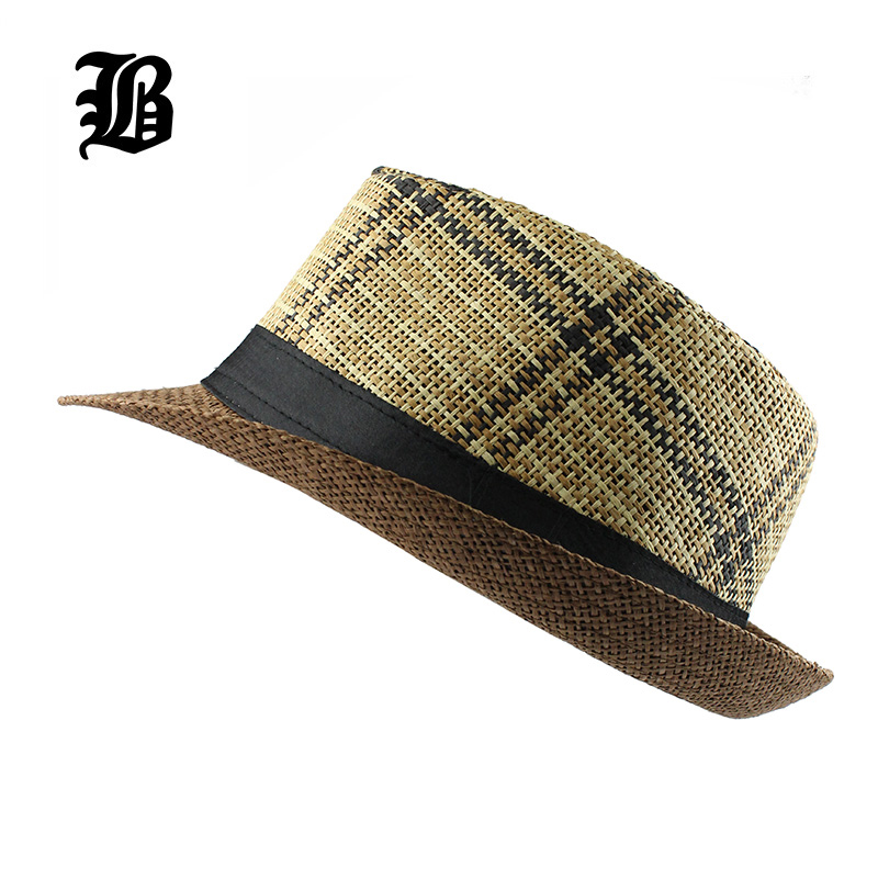 [FLB] heißer 2018 Mode Sommer Strand Hut Großen Krempe Jazz Sonnenhut Casual Unisex Panama Hut Stroh Frauen Männer Cap Mit Schwarz F303