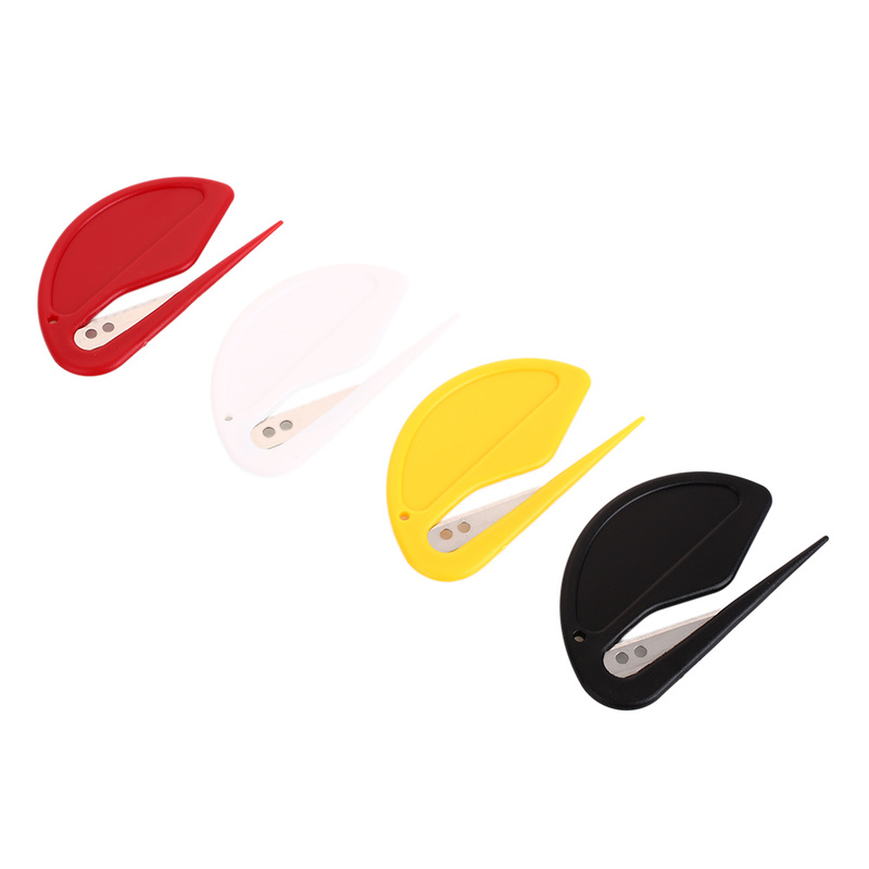 2pcs/lot Plastic Mini Letter Opener Letter Mail Envelope Opener Safety Paper Guarded Cutter Blade Office Equipment Random Color Attractive Designs;
