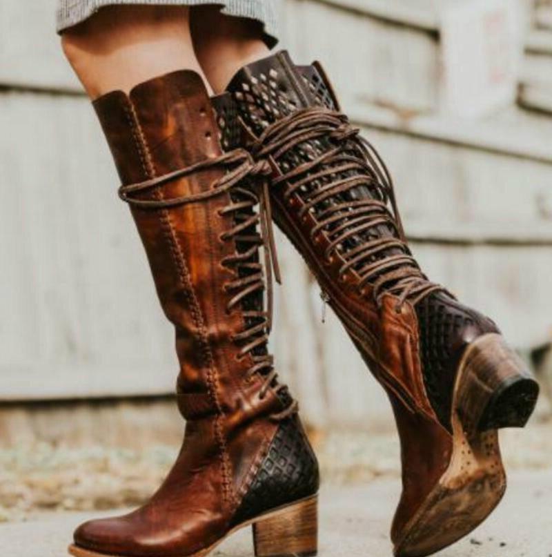 Femenino Gray Encaje Zapatos Gladiador Hasta Botas Altos Mujer La 7qxB1f