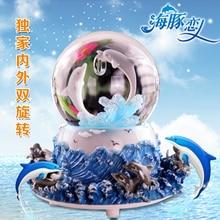 ymy Million dolphin crystal ball music box music box girls birthday gift wedding gift rotating light