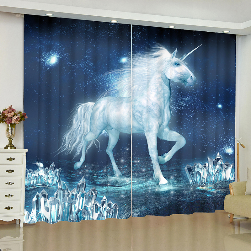 Image 5 - unicorn curtains for window unicorn Pegasus White horse blinds finished drapes window blackout curtains parlour room blinds-in Curtains from Home & Garden
