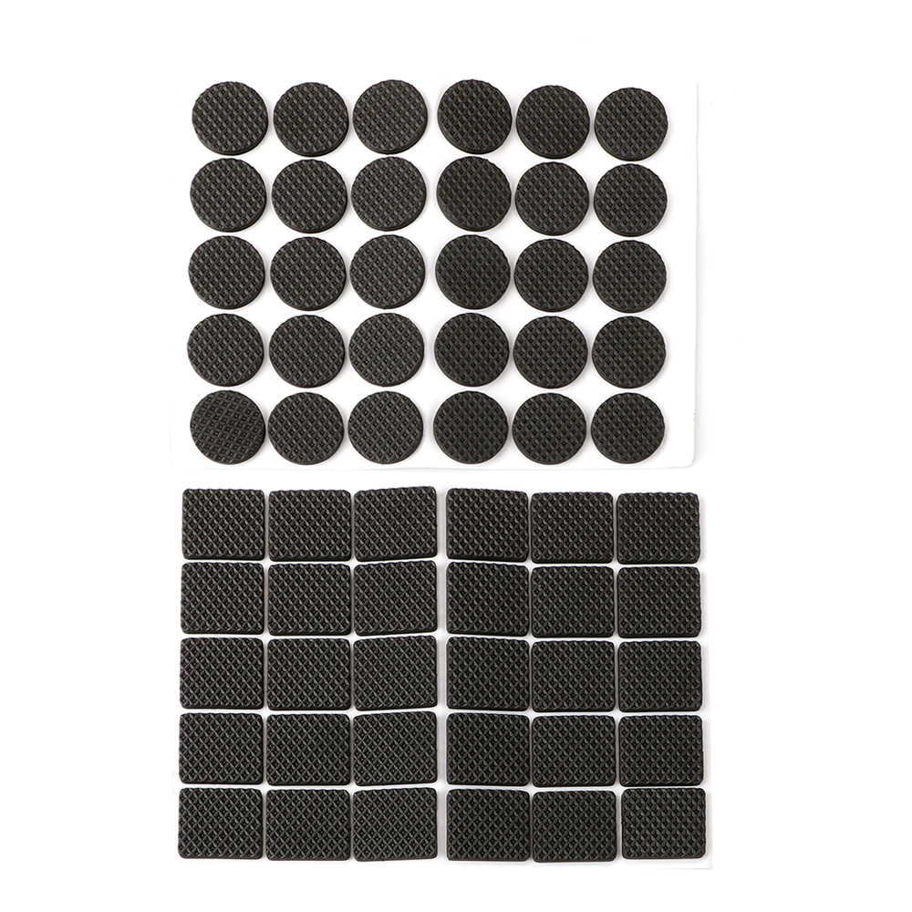 30pcs Black Round Square Sofa Chair Leg Sticky Pad Rubber Table Feet No-Slip Pad Anti-skid Self Adhesive Furniture Leg Feet Mat