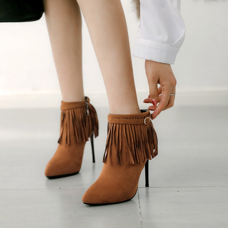 Big Size 11 12 13 14 15     Fashion of European and American wind-tipped slim high heel side zipper fringed short bootsBig Size 11 12 13 14 15     Fashion of European and American wind-tipped slim high heel side zipper fringed short boots