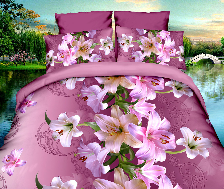 40 Cotton 3D Rose Bedding Sets High Quality Soft Duvet Cover Bedsheet Pillowcase Reactive Printed Bedclothes
