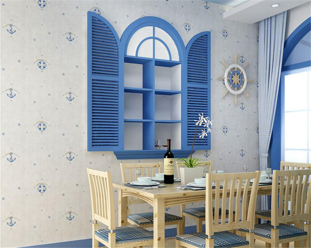Beibehang enfants chambre papier peint dessin animé maritime méditerranéen garçon doux chambre salon canapé réglage mur 3d papier peint - 3