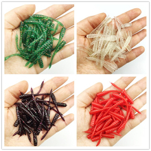 30PCS 4.5cm 0.43g Long tail Pesca Aritifical maggot Grub Silicone Soft Lure Baits smell Worms maggots Luminous Fishing Lures
