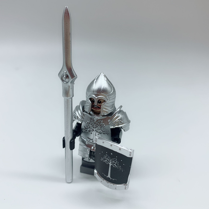 400PCS Lord of the Rings Figure Gondor Hero Soldier Knight Heavy Infantry Spear Building Blocks Toys