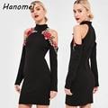 Elegante bordado del hombro negro halter dress mujer de manga larga vestidos 2017 corto robe femme casual bodycon vestidos c66