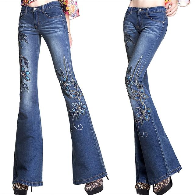 automne femmes mode brod perles fleur d cor stretch jeans femme femme designer pantalons. Black Bedroom Furniture Sets. Home Design Ideas