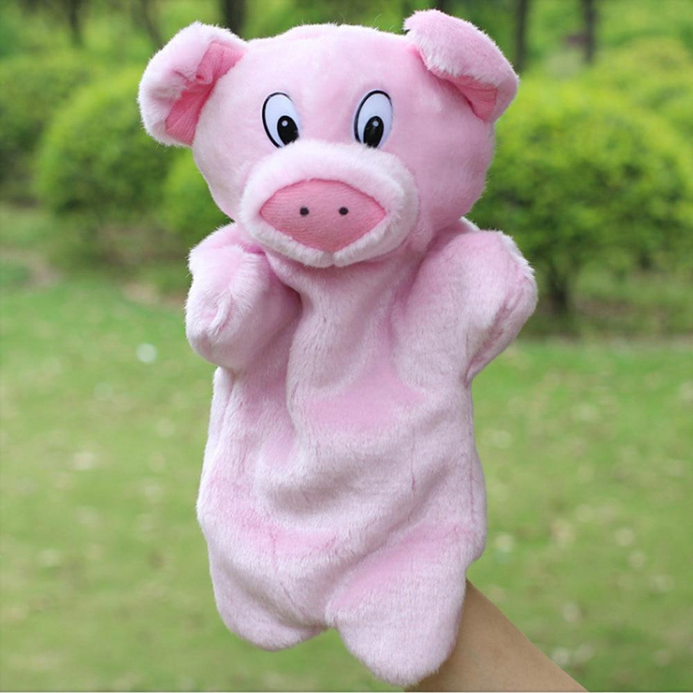 Satkago Cute Kawaii Pig Hand Puppets Soft Plush Hand Figures Cartoon Animal Toys Doll Baby Kids Children Educational Toys Pink
