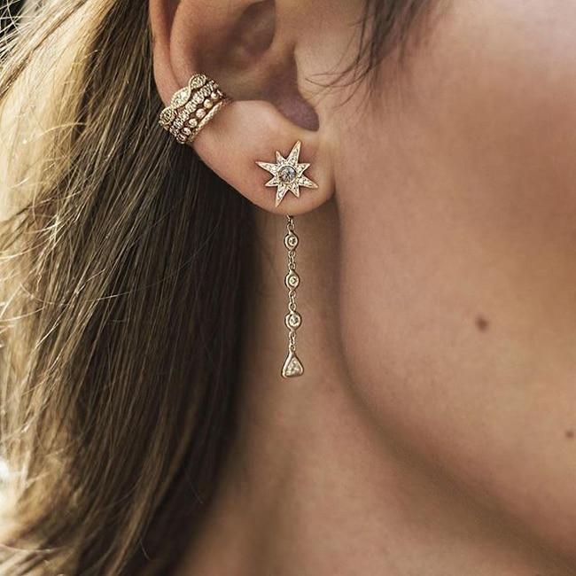 AAA cubic zirconia bezel round triangle cz long chain tassel fashion women jewlery star stud ladies northstar cz earring все цены