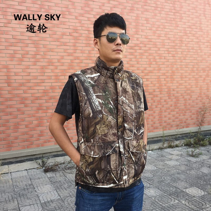 Hot Hunting Vest Sniper Tactical Bionic Camouflage Vest Army Fans Hunting Thermal Vests Camo Clothes for Winter Outdoor Sports camouflage tactical vest mens hunting vest outdoor black training military army swat mesh vests protective equipment