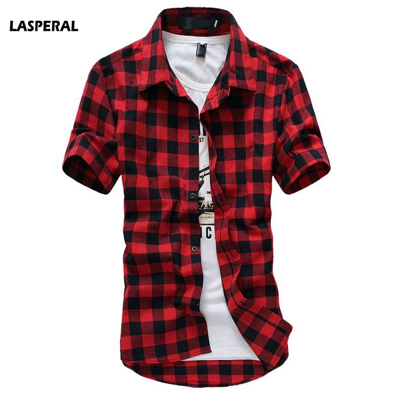 LASPERAL Navy and Green Plaid Shirts Men 2018 New Summer Mens Casual Short Sleeve Shirts Fashion Chemise Homme Mens Clothing