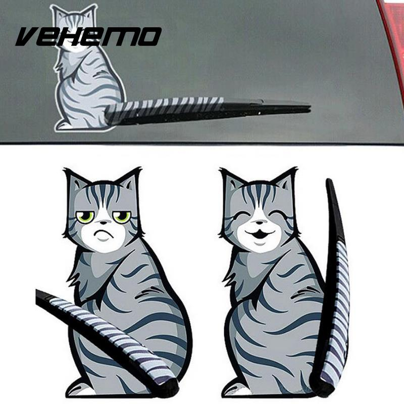 1pc Creative Cartoon Cat Moving Tail Stickers Reflective Car Stickers Window Wiper Decals Rear Windshield Sticker Car Styling