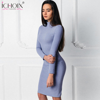 Autumm Warm Women Dresses Vintage Knitted Fashion Party Dress 2018 Long Sleeve Solid Midi Bodycon Pencil