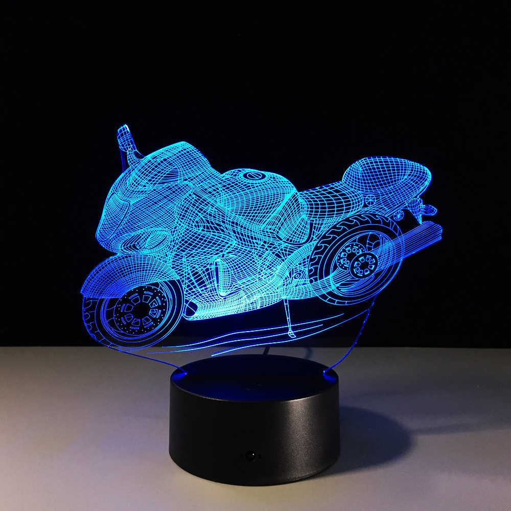 USB 3D Lamp Motorcycle LED Night Light Cartoon 3D Car 7 Colors Acrylic Discoloration Colorful Atmosphere Novelty Light Boy Gift novelty night light cartoon led children s nightlight 3d lamp colorful table lamp for kid s gift