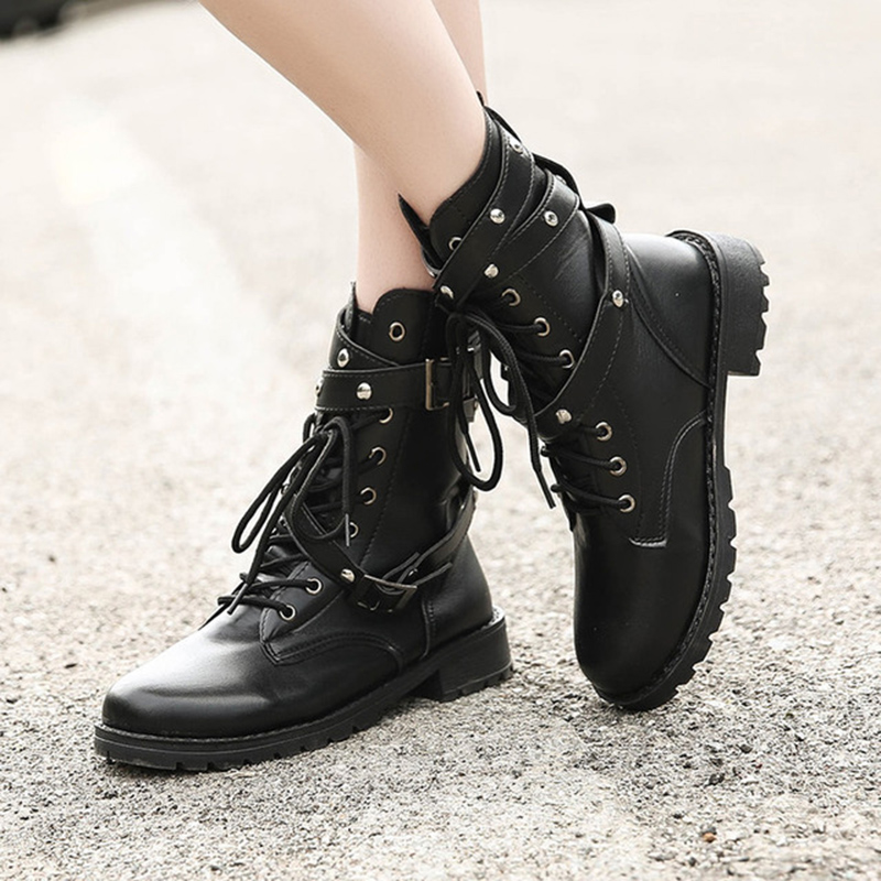 2019 New Female Thick With Belt Buckle Motorcycle Womens Boots Lovers Boots Military Boots Large Size Womens Shoes Women2019 New Female Thick With Belt Buckle Motorcycle Womens Boots Lovers Boots Military Boots Large Size Womens Shoes Women