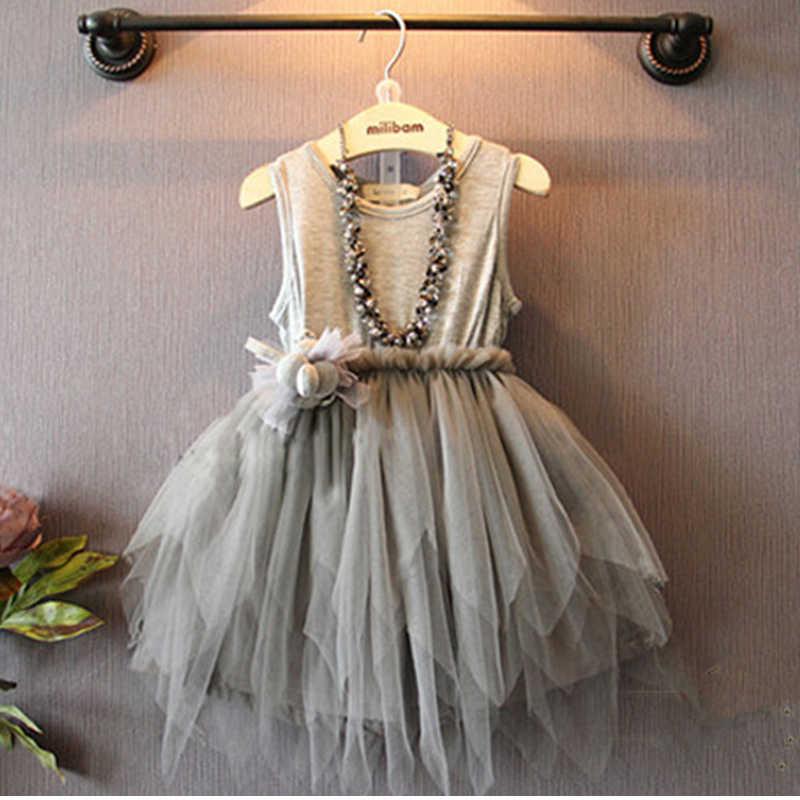 f393a1c17a18 Sodawn Fashion Baby Girls Designed Gray Tulle Dress Sleeveless Party Dress  Princess Lace Dress