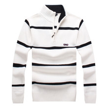 Eden Park New Men's Sweaters Warm Fashion Winter Zipper Pullover Sweaters Man Casual Knitwear Clothing Big Size Striped Clothes