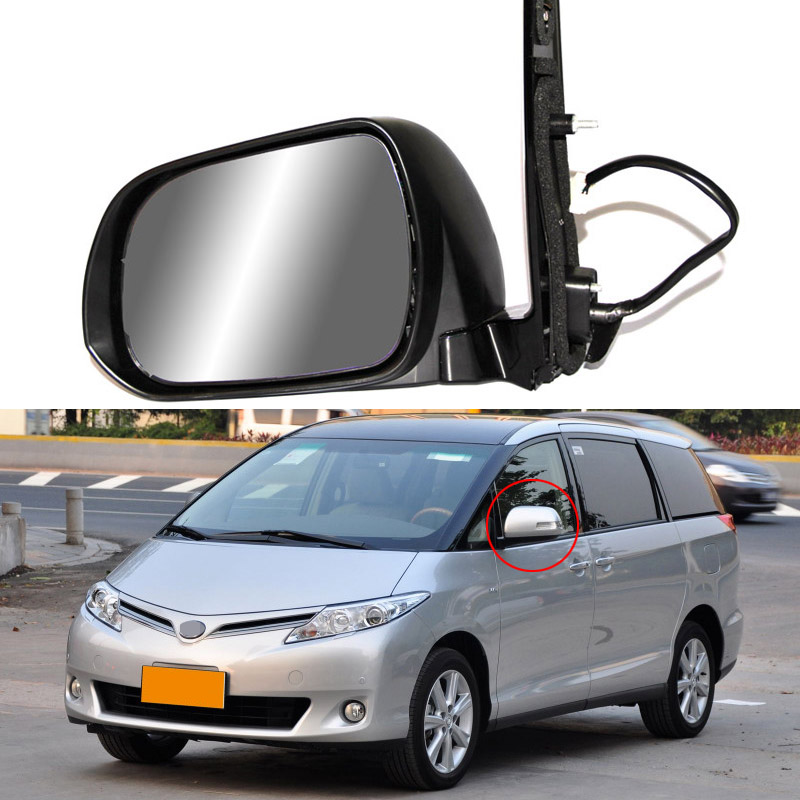 Savanini 9 Pins Exterior Side Automatic Folding Power Adjustable&Heated Glass LED Turn Signal Mirror For Toyota Previa 2010