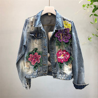2019 Autumn new Women Denim Jacket Three-dimensional Flower Beading Wash Vintage Long Sleeve Hole Jeans Jacket Casual Streetwear