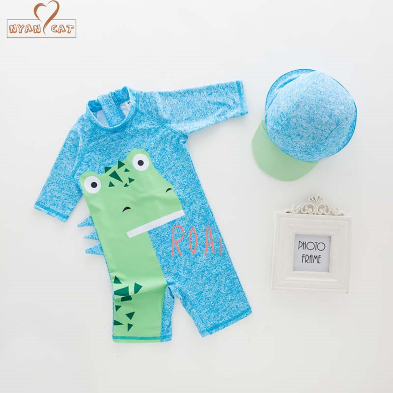 Nyan Cat summer baby boy swimwear+hat 2pcs set  blue dinosaur swimming suit infant toddler kids children spa beach bathing new 2pcs set baby clothes set boy